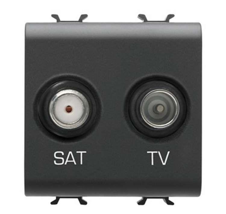 Gewiss gw12383 prise tv sat directe 2 modules noir chorus - Prise tv sat ...