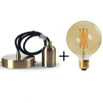 Suspension bronze E27 + Ampoule globe filament LED 2W