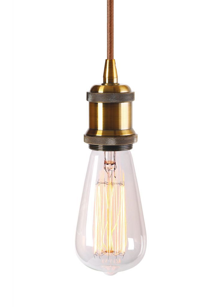 Suspension m tal antique e27 ampoule edison filament for Suspension 4 ampoules