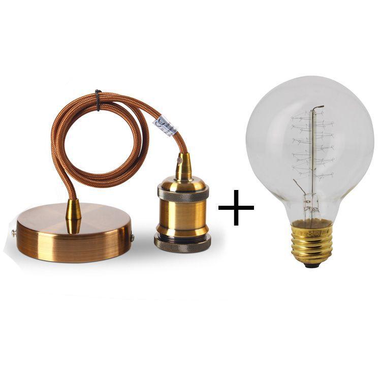 Suspension métal antique E27 + Ampoule globe filament métallique ...