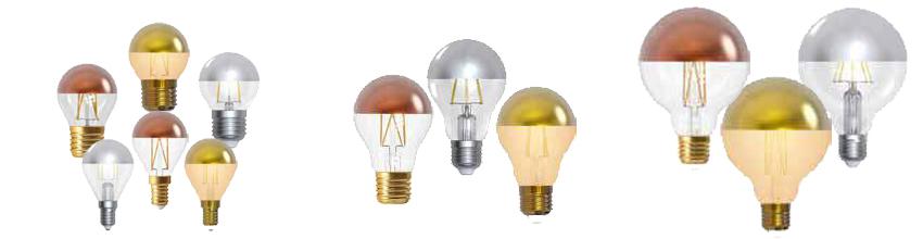 Ampoules calottes argentées, dorées et bronze