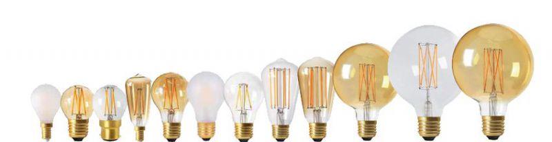 Ampoules déco à filament Led droits, edison, globes