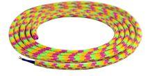 Cable textile Mélange de rose & jaune, 2 x 0,75mm souple, 2 metres (189605)