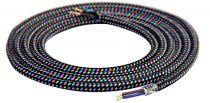 Cable textile Mélange de bleu & noir, 2 x 0,75mm souple, 2 metres (189607)