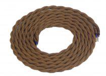 Cable textile torsadé  Marron, 2 x 0,75mm souple, 2 metres (189611)