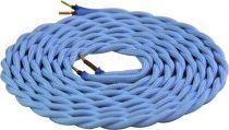 Cable textile torsadé  Bleu, 2 x 0,75mm souple, 2 metres (189613)