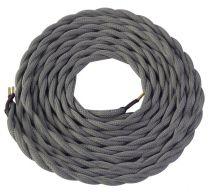 Cable textile torsadé  Gris, 2 x 0,75mm souple, 2 metres (189616)