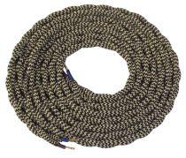 Cable textile torsadé  Beige & noir, 2 x 0,75mm souple, 2 metres (189619)