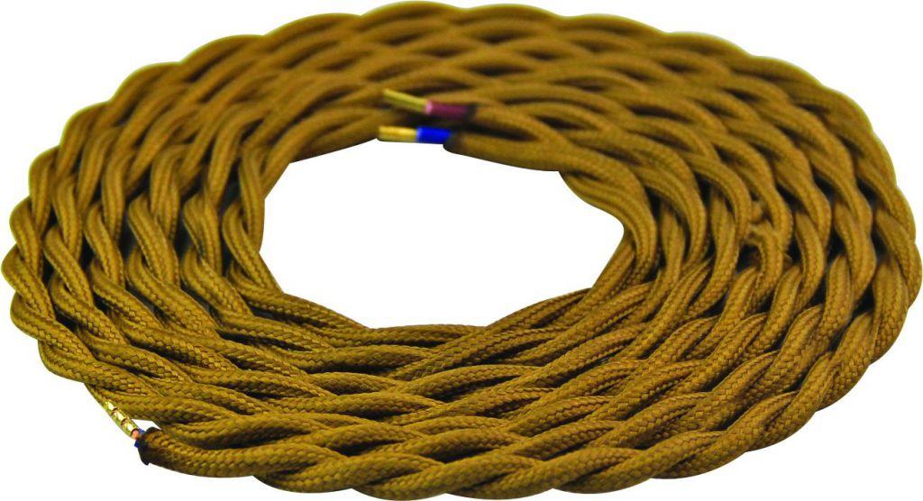 Cable textile torsadé  Or foncé, 2 x 0,75mm souple, 2 metres (189620)