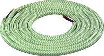 Cable textile Mélange de vert & kaki, 2 x 0,75mm souple, 2 metres (189622)