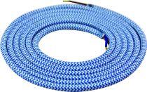 Cable textile Bleu clair & blanc, 2 x 0,75mm souple, 2 metres (189623)