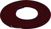 Cable textile Noir & rouge, 2 x 0,75mm souple, 2 metres (189625)