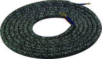 Cable textile Mélange de gris & noir, 2 x 0,75mm souple, 2 metres (189626)