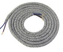 Cable textile Mélange de gris, 2 x 0,75mm souple, 2 metres (189627)
