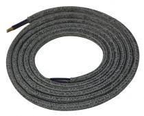 Cable textile Mélange d'argent & gris, 2 x 0,75mm souple, 2 metres (189630)