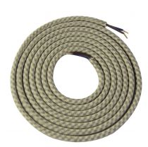 Cable textile kaki, 2 x 0,75mm souple, 2 metres (189632)