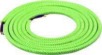 Cable textile Mélange de vert & blanc, 2 x 0,75mm souple, 2 metres (189634)