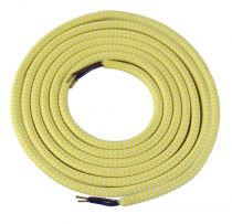 Cable textile Mélange de jaune & blanc, 2 x 0,75mm souple, 2 metres (189639)