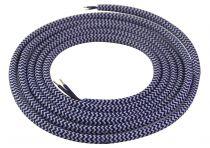 Cable textile Bleu foncé & blanc, 2 x 0,75mm souple, 2 metres (189640)