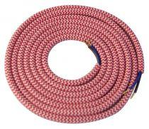 Cable textile Blanc & rouge, 2 x 0,75mm souple, 2 metres (189641)