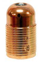 Douille métal E14 avec chemise filetée + terre, couleur Cuivre (210888)