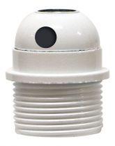 Douille E27 avec Chemise semi-filetée avec sortie latérale et bague Blanc vernissé (216333)