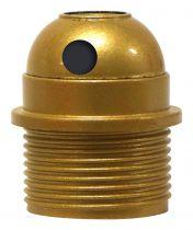 Douille E27 avec Chemise semi-filetée avec sortie latérale et bague Or vernissé (216337)