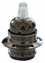 Douille E27 métallique filetée avec bague , couleur Gris foncé (220885)