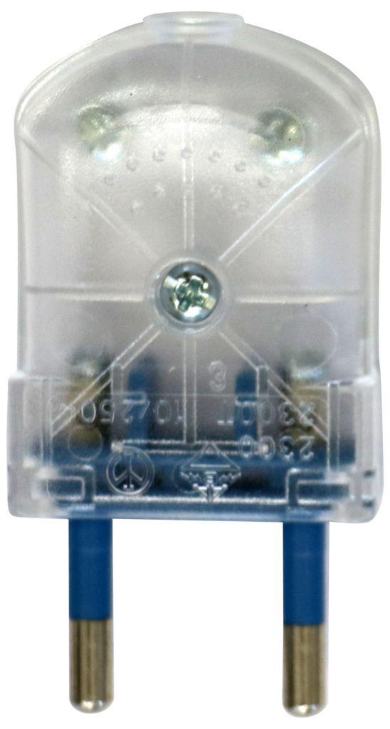 Fiche mâle plate 2P Transparent (250557)