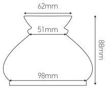 Verrerie Vesta pour luminaire, , longueur 88 mm (703001)