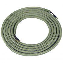 Câble textile rond 2 x 0.75mm² L.2m jaune et gris