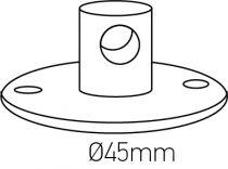 Crochet métal avec vis de fixation avec arrêt de câble x 3 Ø45mm blanc