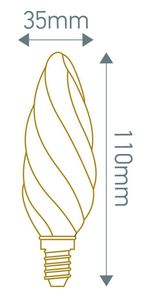 Flamme «TORSADÉE» F6 filament LED 5W E12 2500K 420lm amb. dimmable (https://www.girard-sudron.fr/pub/media/catalog/pro)