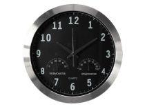 Horloge Murale  En Aluminium Avec Thermomètre & Hygromètre - Ø 35.5 Cm (WC118)