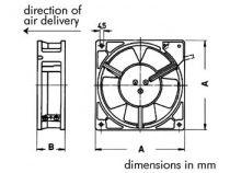 2083hbl ventilateur roulement a billes 80x80x38 220v câbles (BSB220)