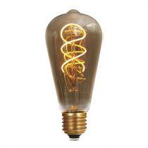 Ampoule Edison filament LED twisted 5W E27 2000K 220Lm Smoky (716675)
