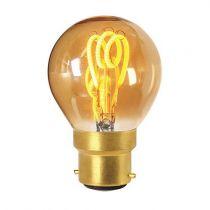 Ampoule Sphérique G45 filament LED 3 loops 3W B22 2000K 100Lm dimmable Ambrée (716635)
