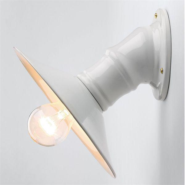 Applique rétro email et céramique blanche type vénitienne E27 diam. 21cm (152267)