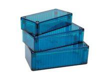 Boitier polycarbonate transparent bleu 116x62x27