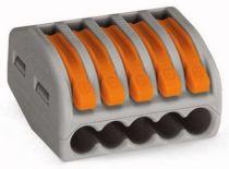 Borne de connexion 5 x 0,08-4 mm² fils souple ou rigide / Gris