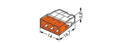 Borne Wago 2273 - 3 x 0,5 à 2,5mm² Transparent fils rigide / Orange (2273-203)