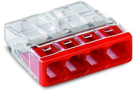Borne Wago 2273 - 4 x 0,5 à 2,5mm² Transparent fils rigide / Rouge (2273-204)