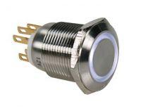 Bouton-poussoir en acier inoxydable spdt 1no 1nc - anneau blanc - 19mm (R1900W)