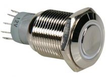 Bouton-poussoir métallique rond spdt 1no 1nc - anneau blanc (R1600W)