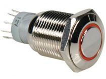 Bouton-poussoir métallique rond spdt 1no 1nc - anneau orange (R1600O)