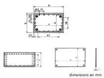 Coffret en plastique 85x56x35.5mm alu pl. - bleu (TKP1B)