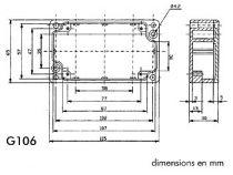 Coffret etanche en aluminium - 115 x 65 x 30mm (G106)
