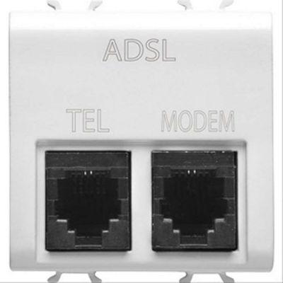 gewiss gw10410 connecteur telephonique double filtre adsl rj11 pour t l phon et modem 2. Black Bedroom Furniture Sets. Home Design Ideas
