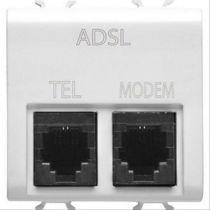 Connecteur telephonique double - filtre adsl - rj11 pour téléphon et modem - 2 modules - blanc - chorus