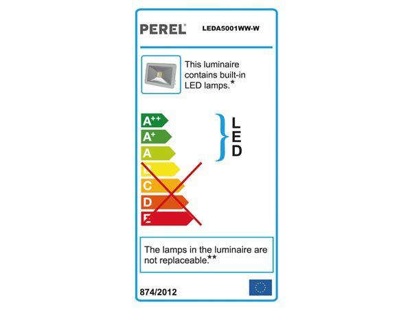 Design led floodlight - 10 w, warm white - white (LEDA5001WW-W)